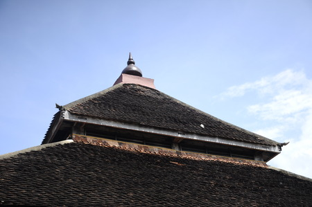 puri: Traditional roof of Masjid Kampung Laut at Nilam Puri Kelantan, Malaysia. Built in 1400s with traditional tropical architecture style using wood as the major material.
