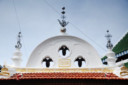 doa: Architectural detail of Kampung Kling Mosque.  It is an old mosque in Malacca City, Malacca, Malaysia and originally build in 1748. It is one of the traditional mosue in Melaka which still retains its original design. Stock Photo
