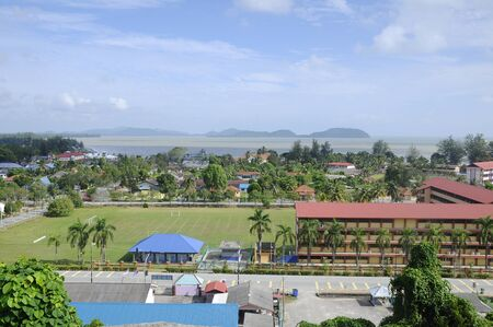 amenities: Bright sunny day of Mersing town view from Masjid Jamek Bandar Mersing Stock Photo
