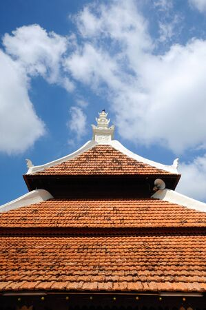 recite: Roof of Peringgit Mosque. The mosque was built in 1868 after the old Mosque was destroy. In year 2002 The Malacca Government took the responsibilities to execute the conservation works to restore the original look of the Peringgit Mosque. Stock Photo