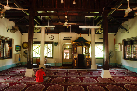 recite: Interior of Peringgit Mosque. The mosque was built in 1868 after the old Mosque was destroy. In year 2002 The Malacca Government took the responsibilities to execute the conservation works to restore the original look of the Peringgit Mosque. Editorial