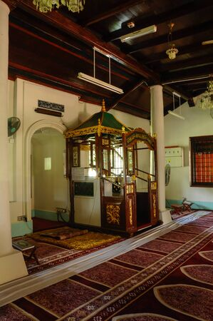 recite: Mimbar of Peringgit Mosque. The mosque was built in 1868 after the old Mosque was destroy. In year 2002 The Malacca Government took the responsibilities to execute the conservation works to restore the original look of the Peringgit Mosque. Editorial