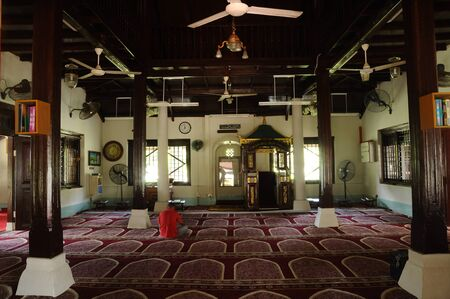 doa: Interior of Peringgit Mosque. The mosque was built in 1868 after the old Mosque was destroy. In year 2002 The Malacca Government took the responsibilities to execute the conservation works to restore the original look of the Peringgit Mosque. Editorial