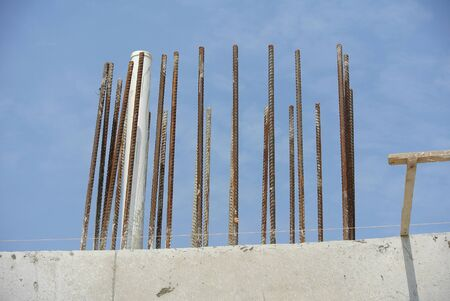 idling: Column reinforcement bar left idling at he construction site in Malaysia Stock Photo