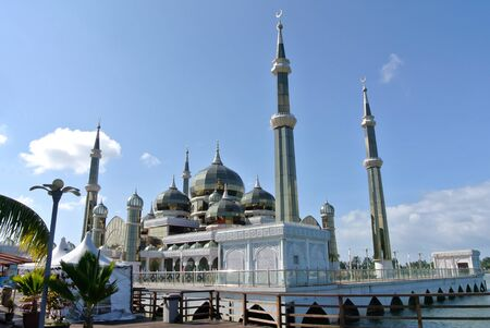 hardscape: The Crystal Mosque or Masjid Kristal is a mosque in Kuala Terengganu, Terengganu, Malaysia. A grand structure made of steel and the finishes from glass and crystal. The mosque is located at Islamic Heritage Park on the island of Wan Man. Editorial