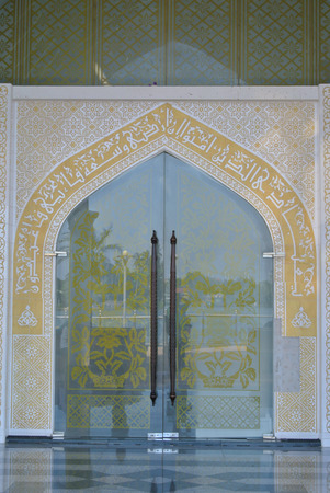 Main door of the Crystal Mosque a.k.a. Masjid Kristal. The mosque is located at Islamic Heritage Park on the island of Wan Man in Kuala Terengganu, Terengganu, Malaysia.