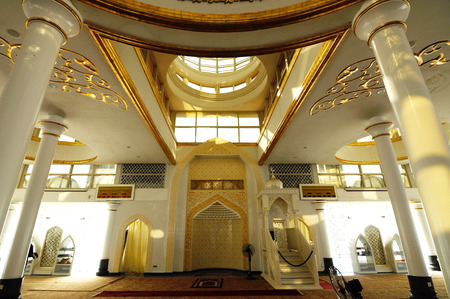 terengganu: Interior of the Crystal Mosque a.k.a. Masjid Kristal. The mosque is located at Islamic Heritage Park on the island of Wan Man in Kuala Terengganu, Terengganu, Malaysia.