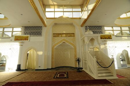 Interior of the Crystal Mosque a.k.a. Masjid Kristal. The mosque is located at Islamic Heritage Park on the island of Wan Man in Kuala Terengganu, Terengganu, Malaysia.