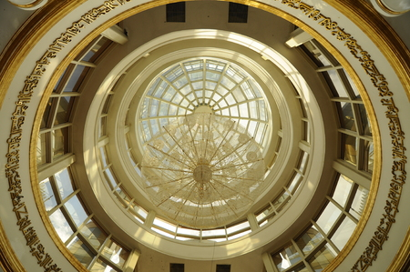 Inside main dome of the Crystal Mosque a.k.a. Masjid Kristal. The mosque is located at Islamic Heritage Park on the island of Wan Man in Kuala Terengganu, Terengganu, Malaysia.