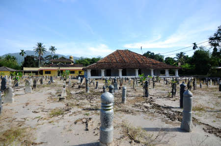 malay village: The Old Mosque of Pengkalan Kakap located in Merbok Kedah Malaysia. Stock Photo