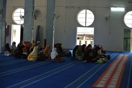 pahang: People inside of Sultan Mahmud Mosque in Kuala Lipis Pahang Editorial