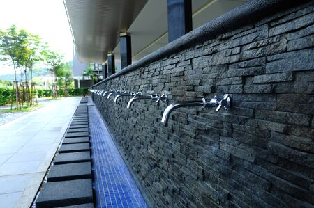 alam: Ablution pipes of Puncak Alam Mosque in Selangor, Malaysia