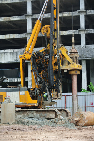 SELANGOR, MALAYSIA  MARCH, 2015: Bore pile rig at the construction site in Malaysia. This heavy machine used during the foundation work.