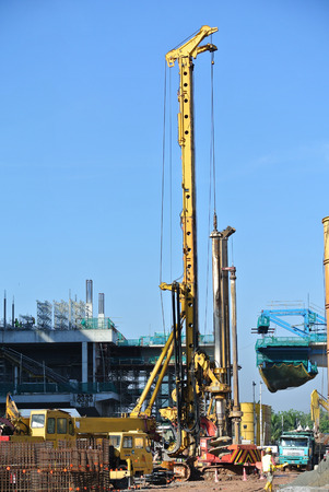 piling: SELANGOR, MALAYSIA  MARCH, 2015: Bore pile rig at the construction site in Malaysia. This heavy machine used during the foundation work.