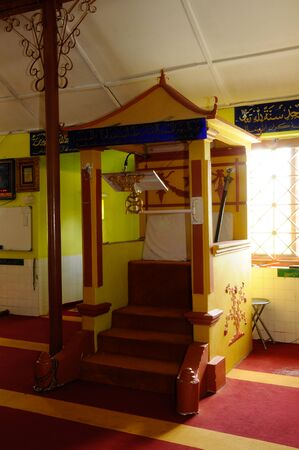 refurbish: Mimbar of  Masjid Kariah Dato Undang Kamat. The moosque was built on 1934 and refurbish by local government on 1980. It is located in Jempol district, Negeri Sembilan, Malaysia. Editorial