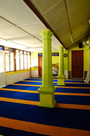 local government: Interior of  Masjid Kariah Dato Undang Kamat. The moosque was built on 1934 and refurbish by local government on 1980. It is located in Jempol district, Negeri Sembilan, Malaysia.