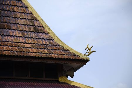 refurbish: Roof detail of Masjid Kariah Dato Undang Kamat. The moosque was built on 1934 and refurbish by local government on 1980. It is located in Jempol district, Negeri Sembilan, Malaysia. Stock Photo