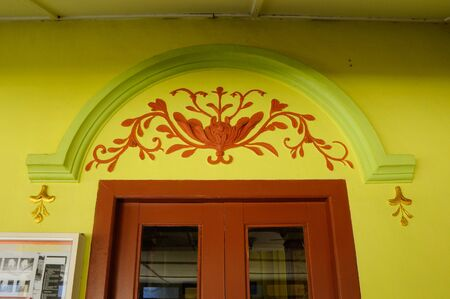 refurbish: Main door decoration at Masjid Kariah Dato Undang Kamat. The moosque was built on 1934 and refurbish by local government on 1980. It is located in Jempol district, Negeri Sembilan, Malaysia. Editorial