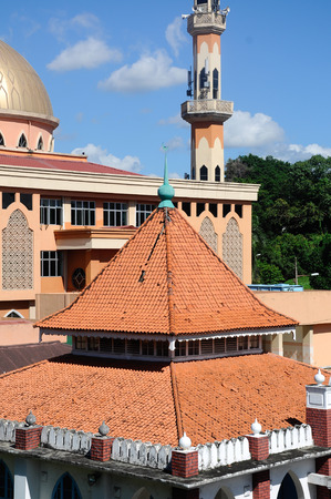 recite: KUALA LUMPUR, MALAYSIA  JANUARY, 2015: Roof of the old mosque of Masjid Jamiul Ehsan at Setapak Kuala Lumpur, Malaysia The mosque was built on 1933 and now put under conservation by Malaysian Government.