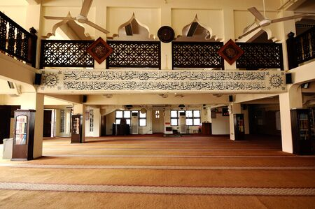 KELANTAN: Interior of The Langgar Mosque located at Kota Bharu, Kelantan, Malaysia. The original wooden mosque builds on 1871 by Sultan Muhammad II, and enlarged on 1995.