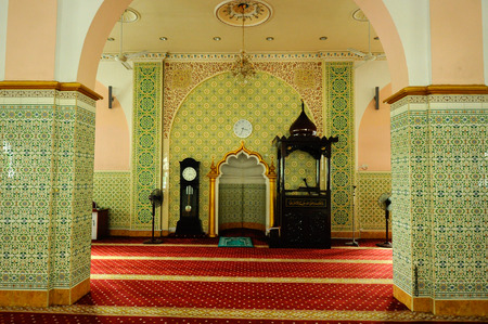 doa: Interior of the Indian Muslim Mosque in Ipoh, Perak, Malaysia on June 01, 2015. The mosque was built in 1908 also known as Town Padang Mosque