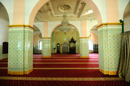 doa: Interior the Indian Muslim Mosque in Ipoh, Perak, Malaysia on June 01, 2015. The mosque was built in 1908 also known as Town Padang Mosque.