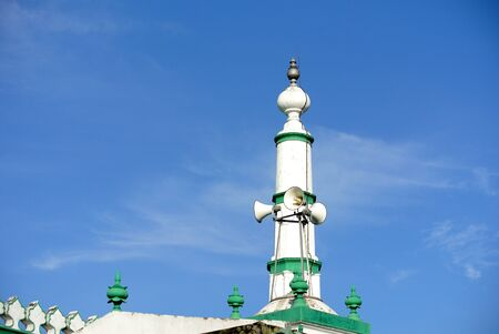 doa: Minaret of the Indian Muslim Mosque in Ipoh, Perak, Malaysia on June 01, 2015. The mosque was built in 1908 also known as Town Padang Mosque. Stock Photo