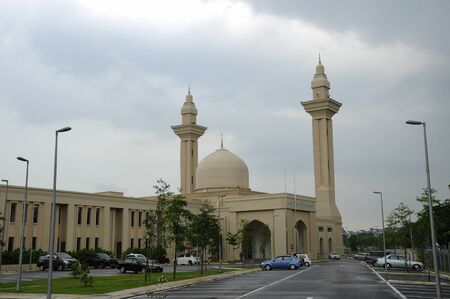 doa: The Tengku Ampuan Jemaah Mosque or Bukit Jelutong Mosque in Selangor, Malaysia on November 30, 2013.  It is a Selangors royal mosque located in Bukit Jelutong near Shah Alam, Malaysia.