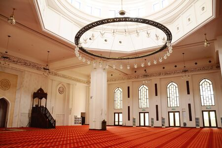 Interior of the Tengku Ampuan Jemaah Mosque or Bukit Jelutong Mosque in Selangor, Malaysia on November 30, 2013.  It is a Selangor's royal mosque located in Bukit Jelutong near Shah Alam, Malaysia. Editorial