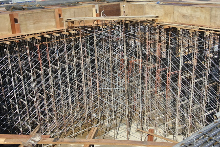 formwork: Scaffolding erected to support slab formwork