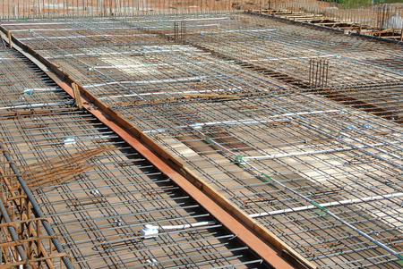 formwork: Floor slab reinforcement bar on timber formwork and ready to cast at the construction site Stock Photo