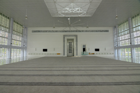 doa: SELANGOR, MALAYSIA  JUNE 15, 2015: Interior of Ara Damansara Mosque is a modern design mosque on the green technology concept and was awarded with Green Building Index Gold Medal. It is located at the Ara Damansara residential area.