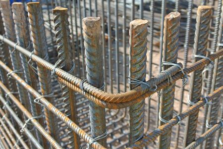 april 15: SELANGOR, MALAYSIA  APRIL 15, 2015: Steel rods or steel reinforcement bars is the material used to reinforce concrete. It is come in variation size to meet the engineers design requirement.