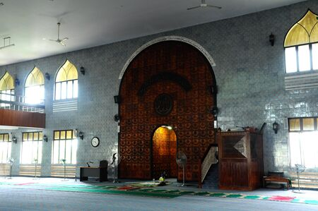 worshipper: Interior of Kuching Town Mosque a.k.a Masjid Bandaraya Kuching in Sarawak, Malaysia