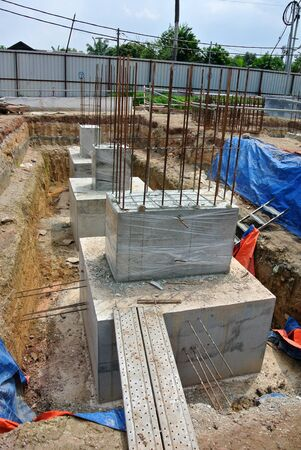 building foundation: SELANGOR, MALAYSIA  May 25, 2015: The building pile cap at construction site in Selangor Malaysia on May 25, 2015. The pile cap is the part of building foundation. Editorial