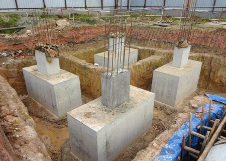 substructure: SELANGOR, MALAYSIA  May 25, 2015: The building pile cap at construction site in Selangor Malaysia on May 25, 2015. The pile cap is the part of building foundation. Editorial