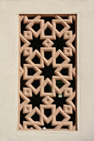fibreglass: Decorative wall with Islamic geometry pattern made from precast fibre reinforce concrete. Stock Photo
