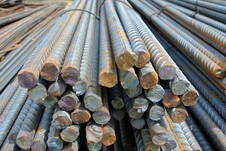 reinforce: SELANGOR, MALAYSIA  APRIL 15, 2015: Steel rods or steel reinforcement bars is the material used to reinforce concrete. It is come in variation size to meet the engineers design requirement.