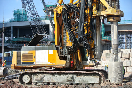 MALACCA, MALAYSIA  MARCH 18, 2015: Bore pile rig machine at the construction site in Malacca, Malaysia on March 18, 2015.