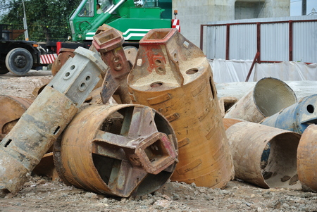 auger: JOHOR, MALAYSIA  MARCH 05, 2015: Bore pile rig auger at the construction site in Johor, Malaysia on March 05, 2015. The bore pile rig machine used this auger during the foundation work.