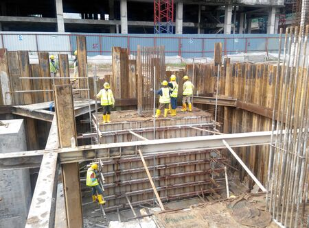substructure: SELANGOR, MALAYSIA – May 25, 2015: The concrete pile cap concreted at the construction site in Selangor Malaysia. The pile cap is the part of building foundation.