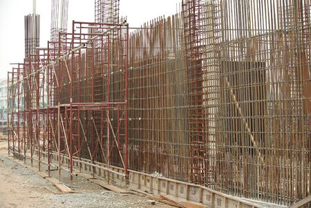 reinforcement: Hot rolled deformed steel bars or steel reinforcement bar. The reinforcement bar is part of building structure function to strengthen the concrete. Stock Photo