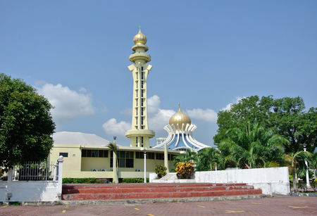 PENANG, MALAYSIA -APRIL 16, 2014: Penang State Mosque or Penang Mosque is a state mosque located in George Town, Penang, Malaysia. Construction of the mosque was completed in 1980.