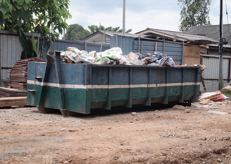 SELANGOR, MALAYSIA -OCTOBER 18, 2016: Construction wasted disposal bin at the construction site. Construction waste was collected here before remove from site.