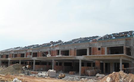 KUALA LUMPUR, MALAYSIA -JANUARY 27, 2017: Facade of two story luxury terrace house under construction.