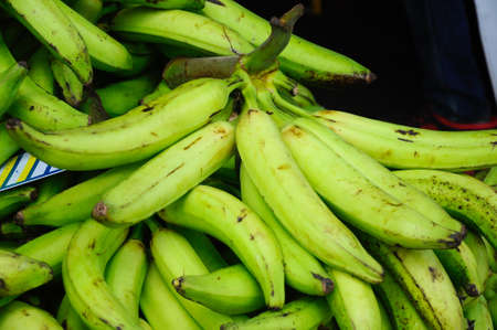 Harvested banana fruit by farmers. It is display open at market to attract costumers.