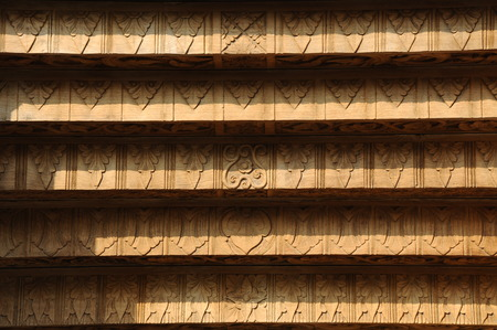 Wood carving detail with arabic word at old Mosque of Masjid Besar Mataram Kotagede. Build on 1575 and it was located at Jogyakarta Indonesia.