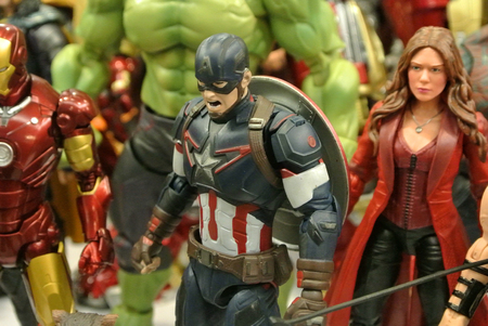 KUALA LUMPUR, MALAYSIA -MARCH 31, 2018: Selected focused of Marvel Comic action figure call the Avengers Team. Action figures gather together by collector.