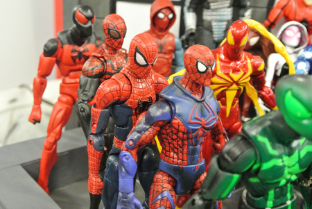 KUALA LUMPUR, MALAYSIA -MARCH 31, 2018: Selected focused of Marvel Comic action figure call Spider-man. He was one of the Avengers team. Action figures gather together by collector.