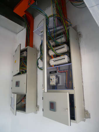 SELANGOR, MALAYSIA -AUGUST 19, 2020: Electrical distribution board and its component in the installation process. Electrical wireman will install this equipment according to the electrical engineer d